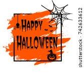 banner happy halloween on...   Shutterstock .eps vector #742633612