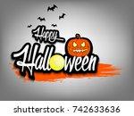 banner happy halloween and... | Shutterstock .eps vector #742633636