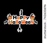 banner happy halloween on... | Shutterstock .eps vector #742633696