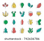 leaf and tree line icon set | Shutterstock .eps vector #742636786