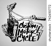 custom motorcycle poster | Shutterstock . vector #742650772