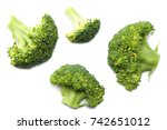 green broccoli isolated on... | Shutterstock . vector #742651012
