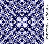 vector damask seamless pattern... | Shutterstock .eps vector #742652812
