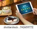 online reviews evaluation time... | Shutterstock . vector #742659772