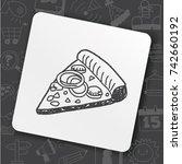 doodle pizza | Shutterstock .eps vector #742660192
