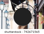 rounded black company sign... | Shutterstock . vector #742671565