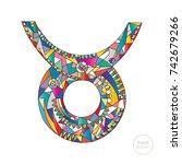 taurus zodiac sign. horoscope... | Shutterstock .eps vector #742679266