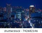 urban night view of tokyo   Shutterstock . vector #742682146