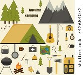 set for autumn camping | Shutterstock .eps vector #742684072