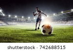 soccer player at stadium. mixed ... | Shutterstock . vector #742688515