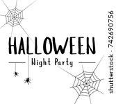 collection halloween text... | Shutterstock .eps vector #742690756