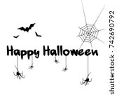 halloween text background style ... | Shutterstock .eps vector #742690792