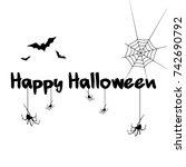 halloween text background style ... | Shutterstock .eps vector #742690792