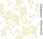 delicate daisy floral texture.... | Shutterstock .eps vector #742698442