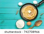 hot delicious pancakes in... | Shutterstock . vector #742708966
