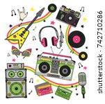 hand drawn set retro musical... | Shutterstock .eps vector #742710286