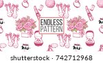 wedding illustration  seamless... | Shutterstock .eps vector #742712968