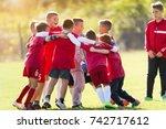 kids soccer football team in... | Shutterstock . vector #742717612