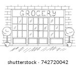 grocery store shop exterior... | Shutterstock .eps vector #742720042