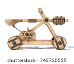 Catapult isolated on white background 3d rendering