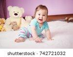 cute smiling little baby girl... | Shutterstock . vector #742721032