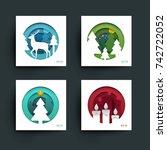 set of christmas  new year... | Shutterstock .eps vector #742722052