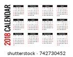 calendar for 2018 on white...   Shutterstock .eps vector #742730452