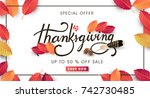 calligraphy of thanksgiving day ... | Shutterstock .eps vector #742730485