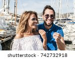 young italian couple gesturing... | Shutterstock . vector #742732918