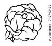 flower rose  black and white.... | Shutterstock .eps vector #742743412