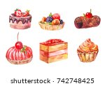 set of cakes  watercolor... | Shutterstock . vector #742748425