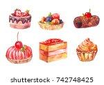 set of cakes  watercolor... | Shutterstock . vector #742748425