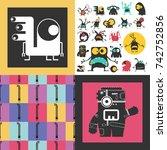 set of cute monsters. paper... | Shutterstock .eps vector #742752856