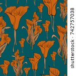 seamless floral pattern in... | Shutterstock .eps vector #742757038