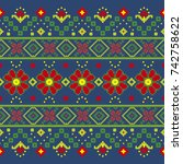 romanian embroidery | Shutterstock .eps vector #742758622