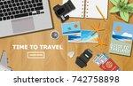 top view of traveler desk  plan ... | Shutterstock .eps vector #742758898