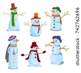 a set of christmas  winter... | Shutterstock .eps vector #742762696