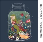 Cute Cartoon Mermaid With...