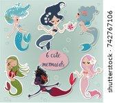 set with cute cartoon mermaids. ... | Shutterstock .eps vector #742767106