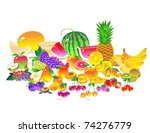 different kinds of fruit.... | Shutterstock .eps vector #74276779