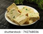 plate of indian sweet soan papdi | Shutterstock . vector #742768036