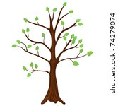 tree with green leafage. vector. | Shutterstock .eps vector #74279074
