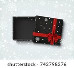 opened black empty gift box... | Shutterstock . vector #742798276