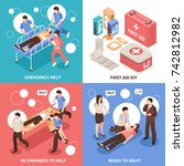 first aid isometric design... | Shutterstock .eps vector #742812982