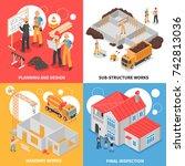 builders design concept with... | Shutterstock .eps vector #742813036
