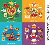 pizza design concept with round ... | Shutterstock .eps vector #742813162