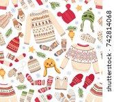 winter seamless background of... | Shutterstock .eps vector #742814068