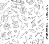hand drawn vector coloring book ... | Shutterstock .eps vector #742822072