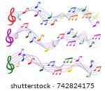 colorful musical notes | Shutterstock .eps vector #742824175