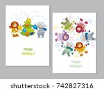 happy new year and xmas poster... | Shutterstock .eps vector #742827316